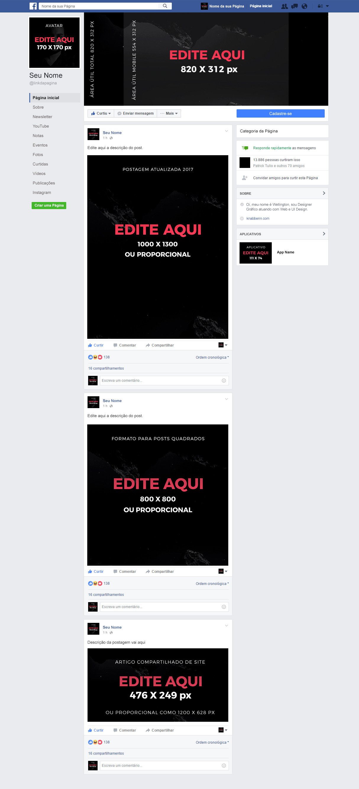 mockup de facebook download psd