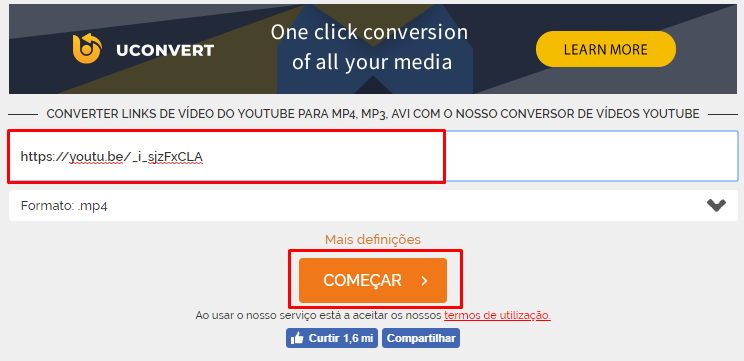sites para baixar vídeos do YouTube online video converter começar inserir link