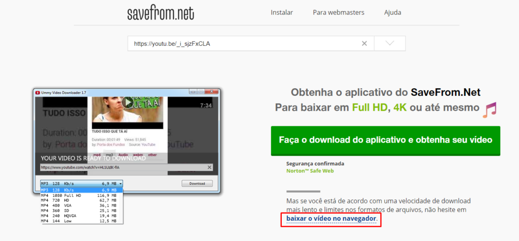 sites para baixar vídeos do YouTube clicando no link baixar video no navegador