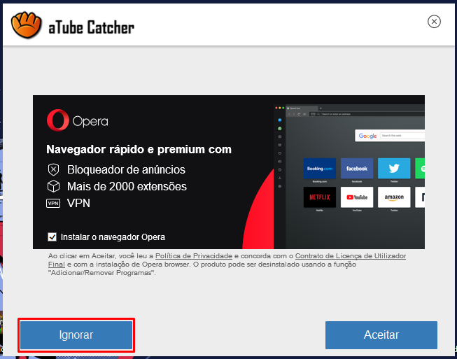 programa para baixar vídeos do YouTube atube catcher - ignorar opera