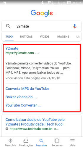 sites para baixar vídeos do YouTube y2mate - acessar o site