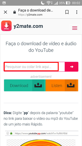 sites para baixar vídeos do YouTube y2mate - inserir link do video