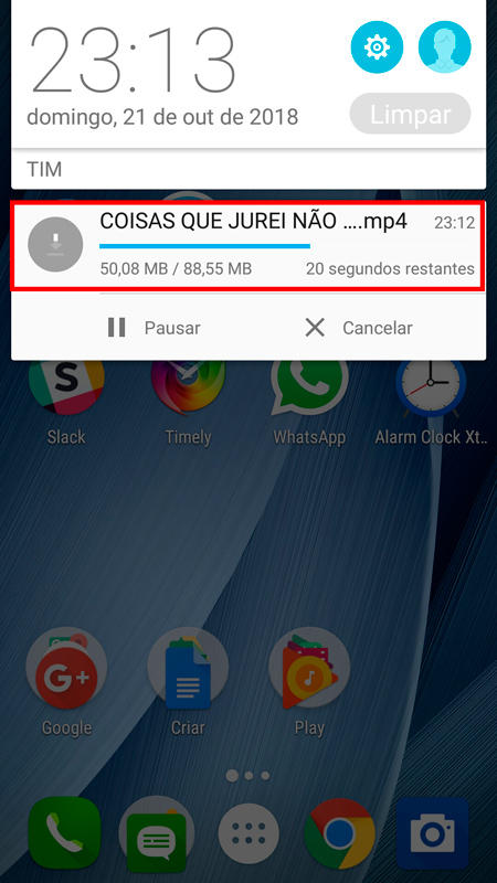 sites para baixar vídeos do YouTube download sendo realizado