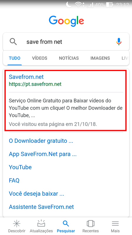 sites para baixar vídeos do YouTube entrar no site save from net